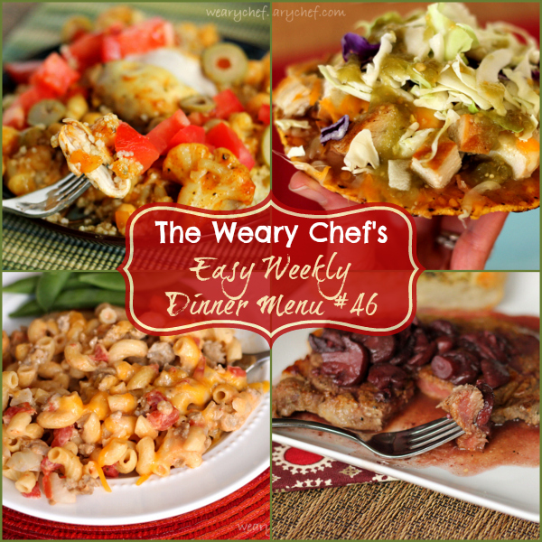 Easy Weekly Dinner Menu including Slow Cooker Moroccan Chicken, Wine Sauce for Steak, Cheeseburger Macaroni, and more! #mealplanning #easydinner