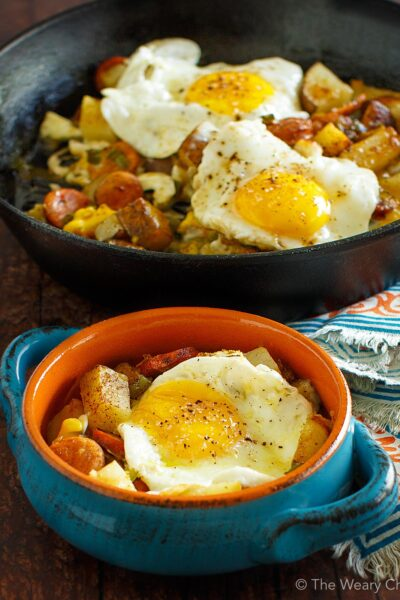 Baked Eggs over Roasted Potatoes and Sausage