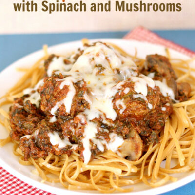 Crockpot Meatballs with Spinach Mushroom Sauce