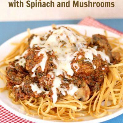 Crockpot Meatballs with Spinach Mushroom Sauce
