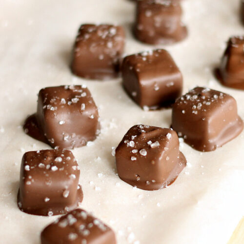 Homemade Salted Chocolate Caramels and Chocolate Dipped Cookies #BakeWithGhirardelli #sponsored