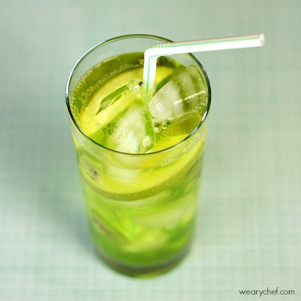Green Fizz Midori Cocktail with Kiwi and Apple