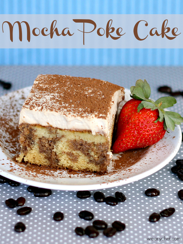 Mocha Poke Cake with Espresso Whipped Cream - A coffee and chocolate lover's dream come true!