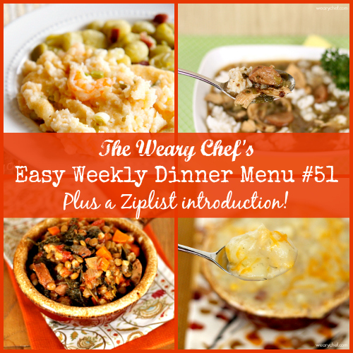Easy Weekly Dinner Menu #51: Gumbo, Cheesy Potato Chowder, Baked Shrimp and Grits, Nachos with Sriracha Cheese Sauce, and lots more! #mealpanning