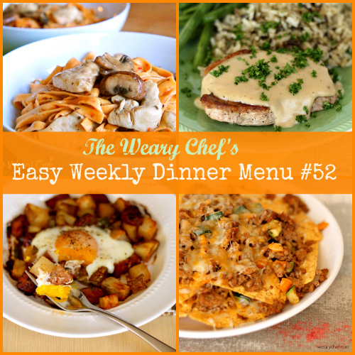 Easy Weekly Dinner Menu 52: Pork Chops with Apple Gravy, Baked Egg over Roasted Potatoes, Healthy Nachos, and lots more! #mealplanning