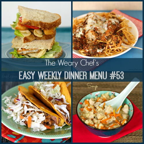 Easy Weekly Dinner Menu #53: Fish and Chips Sandwiches, Chicken and Stars Soup, Slow Cooker Meatballs, Standup Tacos, and more! #mealplanning