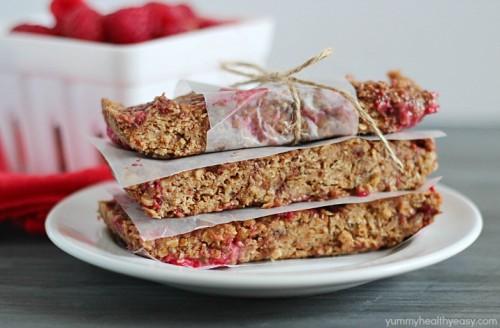Raspberry Chocolate Protein Bars | Yummy Healthy Easy
