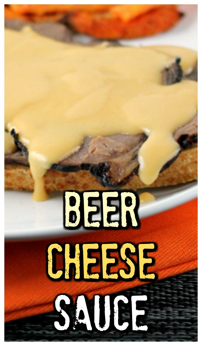 Easy Beer Cheese Sauce made with sharp cheddar cheese is perfect over roast beef or for dipping fries! #beer #cheese #sauce #dip #thewearychef