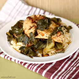 Chicken and Greens with Wine and Bacon