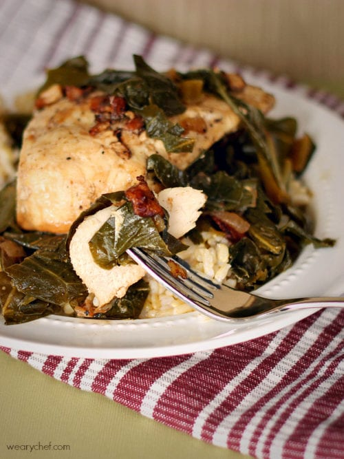 Chicken and Greens Cooked with Wine and Bacon