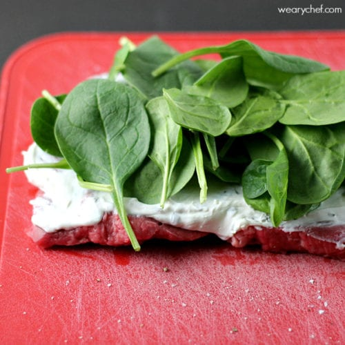 Easy Pinwheel Steaks with Spinach and Cream Cheese