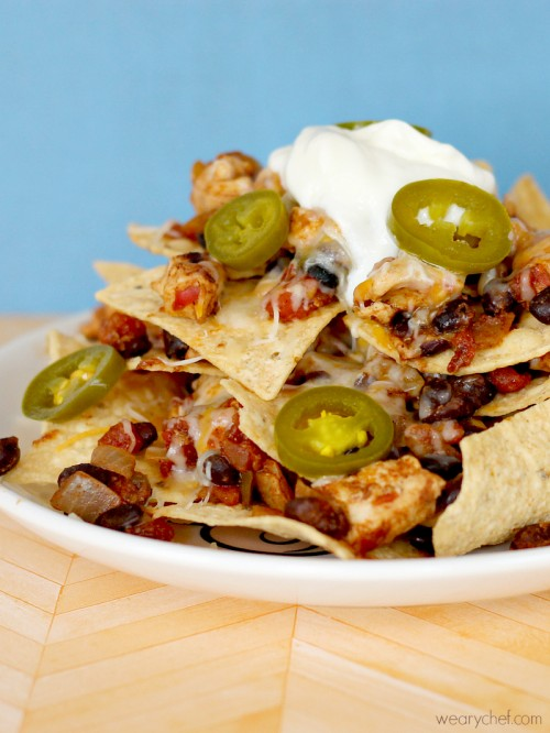 Sky High Layered Chicken Nachos