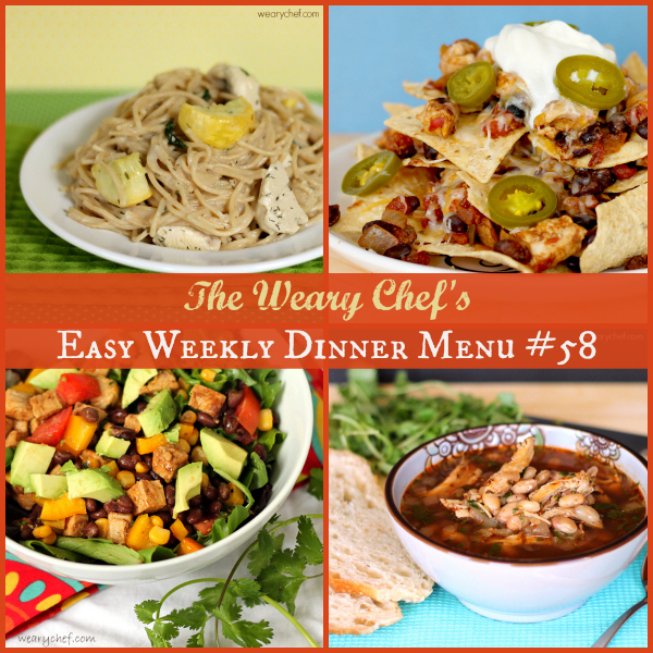 Easy Weekly Dinner Menu 58 - Nachos, White Chili, Ranch Chicken Pasta, and lots more! #mealplanning #dinnerideas
