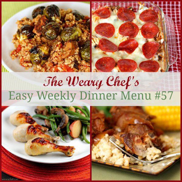 Easy Weekly Dinner Menu 57 including Pizza Pasta Bake, Buttermilk Baked Drumsticks, Brown Sugar Ribs, and lots more! #mealplanning #dinnerideas