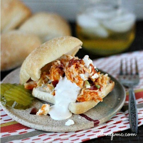 Slow Cooker Buffalo Chicken Sliders by Call Me PMC
