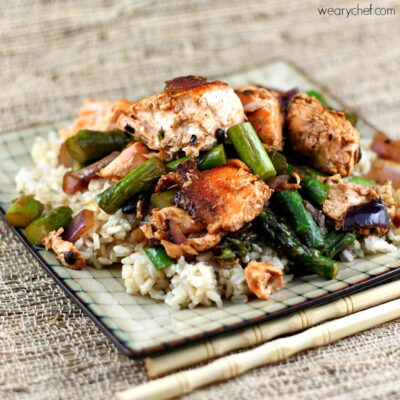 Salmon with Asparagus in Black Bean Sauce