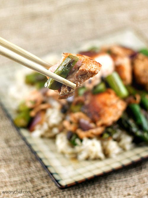 Salmon and Asparagus in Black Bean Sauce #Chinese #copycat