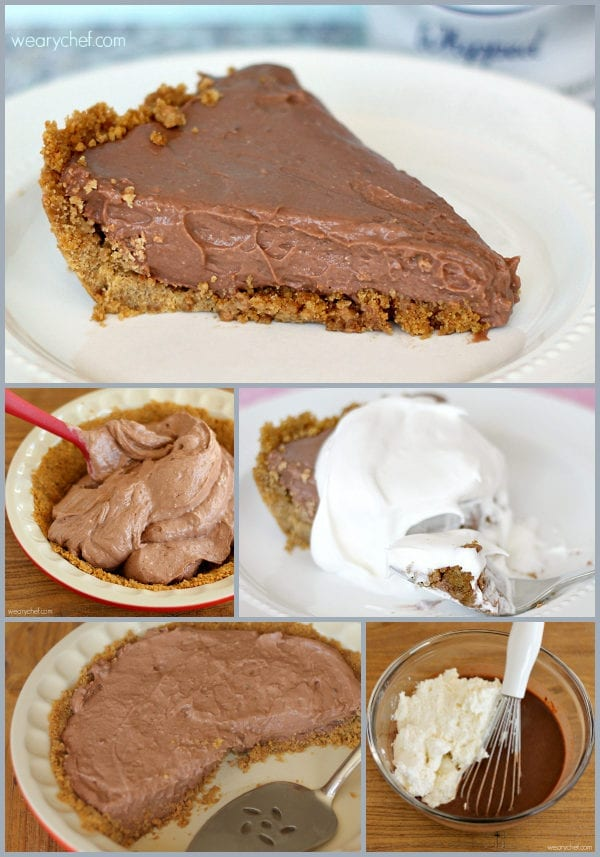 No Bake Chocolate Cheesecake Pudding Pie is ready to eat in only about 10 minutes!