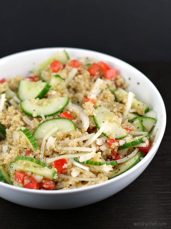 Quinoa and Cucumber Salad Recipe perfect on it's own or served with fish!