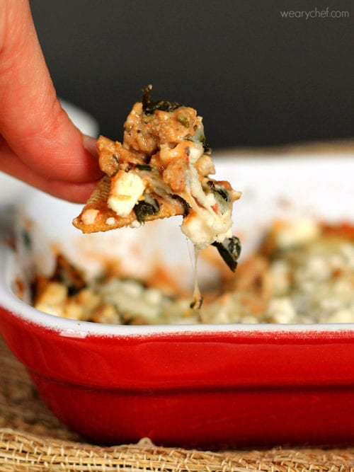 Hearty Hot Spinach Dip: Loaded with ground turkey, spinach, tomatoes and cheese - This dip eats like a meal!