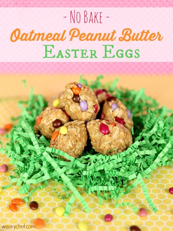 Oatmeal Peanut Butter Easter Eggs: A healthy, easy no-bake recipe! #easter #peanutbutter #nobake