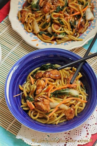 Slow cooker Chicken Lo Mein Noodles | Life Made Sweeter