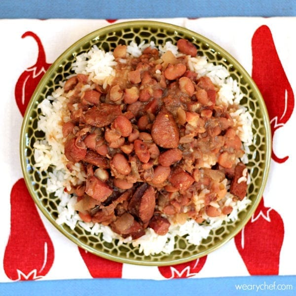 Slow Cooker Red Beans and Rice: No soaking required!