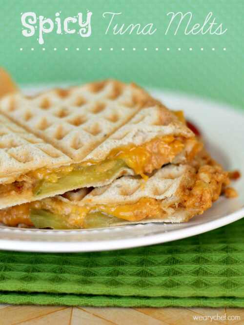 Spicy Tuna Melts: Make these tasty sandwiches in your waffle iron, panin press, or skillet! #sandwich #HiddenValleyIt #sponsored