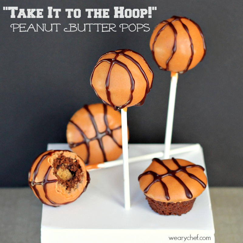 Peanut Butter Stuffed Basketball Cake Pops