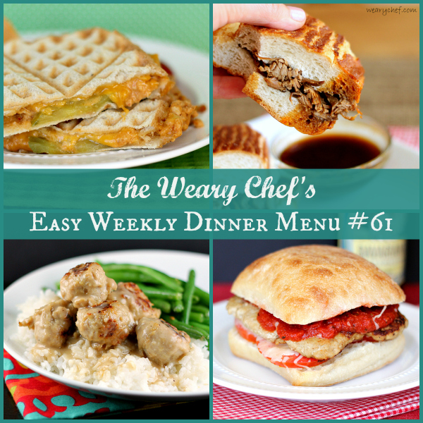 This week's dinner menu features easy sandwich recipes including Spicy Tuna Melts, Chicken Parmesan Burgers, and Slow Cooker French Dips!