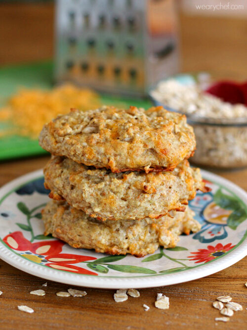 Oatmeal Cheese Biscuits - These savory biscuits are loaded with whole grains!