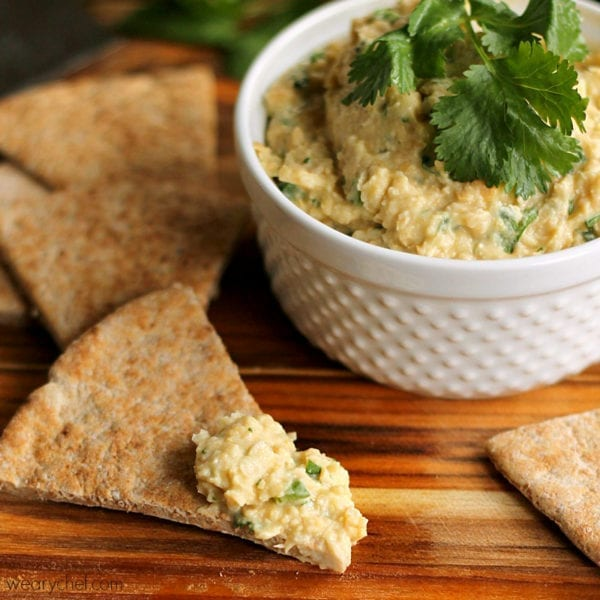 Cilantro Lime Hummus - No food processor required!