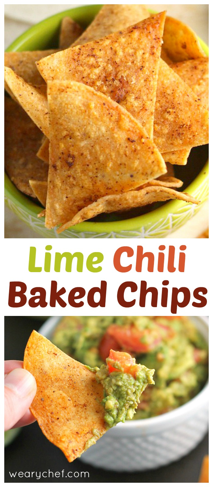 These easy baked corn tortilla chips with lime and chili flavor are low in fat and perfect for dipping! #lowfat #healthy #chips #corn #tortilla