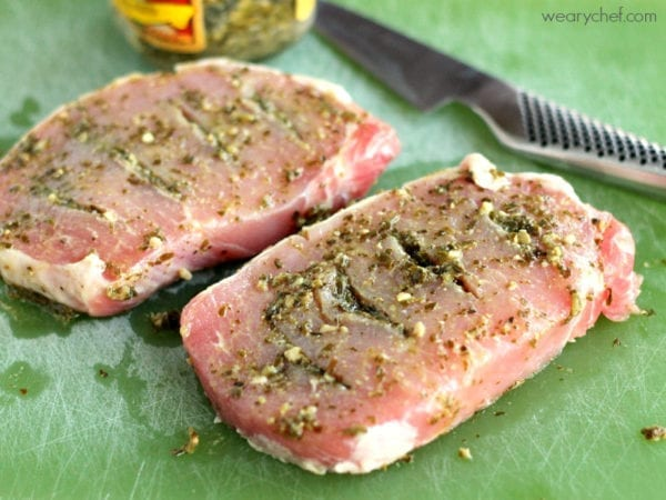 Pesto Stuffed Oven Baked Pork Chops - The Weary Chef