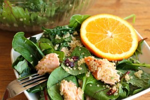 Kale and Quinoa Salad with Salmon (or chicken!) and Orange Vinaigrette