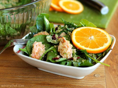 Kale and Quinoa Salad with Salmon (or chicken!)