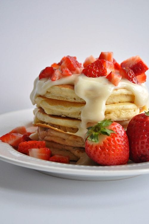 Strawberries and Cream Pancakes by House of Yumm