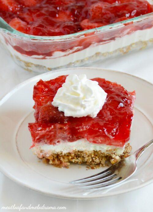 Strawberry Pretzel Salad by Meatloaf and Melodrama
