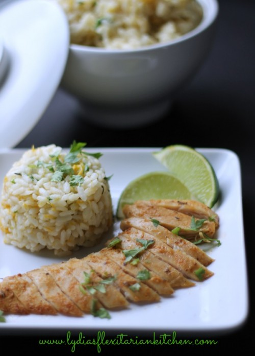 Tropical Chicken with Coconut Mango Rice | Lydia's Flexitarian Kitchen