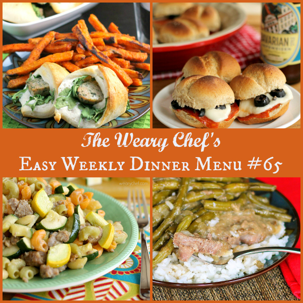 Easy Weekly Dinner Menu #65 includes Sausage Rolls, Pizza Sliders, Pasta with Summer Vegetables, and lots more! #dinner