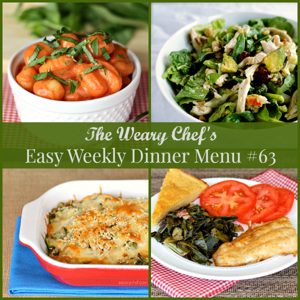 This week's easy weekly dinner menu features main dish green bean casserole, gnocchi in tomato cream sauce, philly cheese steak pizza, and lots more!