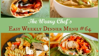 Easy Weekly Dinner Menu #64 features Chicken Enchilada Soup, Honey Mustard Salmon, Skinny Pizza Rolls, and lots more! #dinner