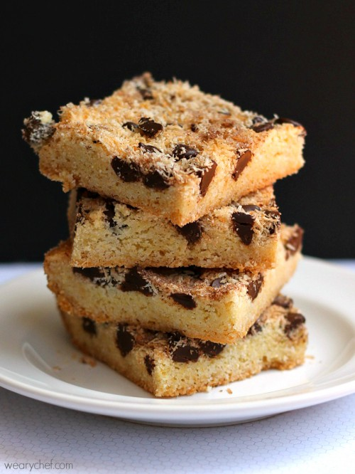 Coconut Chocolate Snickerdoodle Bars - These unbelievably easy bar cookies are unbelievably good!