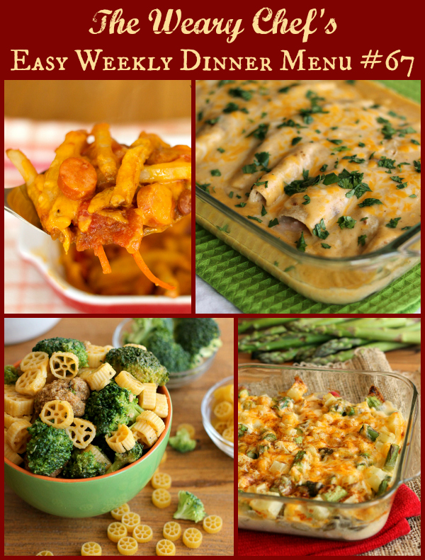 Easy Weekly Dinner Menu #67 featuring Seafood Enchiladas, Skillet Pasta with Meatballs, Chili Dog Casserole, and lots more!