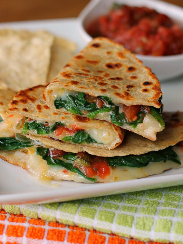 Spicy Spinach Quesadillas - wearychef.com