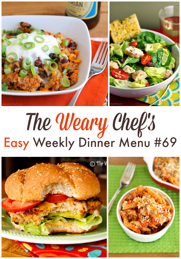 This Easy Weekly Dinner Menu includes Chicken Parmesan Casserole, Taco Turkey Quinoa Skillet, Brown Sugar Crockpot Ribs, and lots more! - wearychef.com