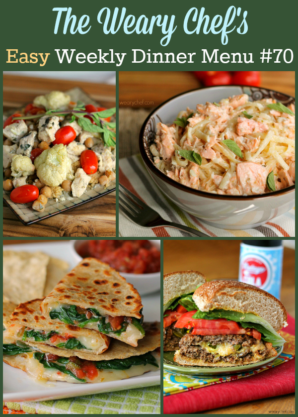 Weekly dinner menu featuring Spicy Spinach Quesadillas, Cajun Salmon Alfredo, Jalapeño Popper Burgers, Baked Stir Fry, and lots more!
