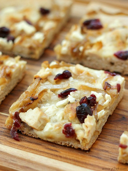 White Pizza Recipe with Chicken, Caramelized Onions, and Cranberries - Make it all from scratch or with shortcuts for a quick dinner! - wearychef.com