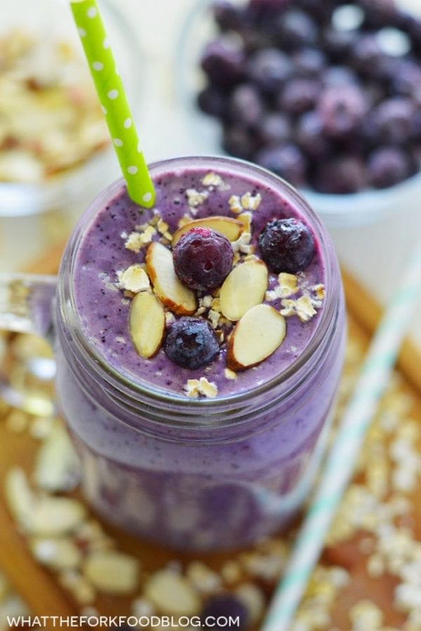 Blueberry Almond Oatmeal Smoothie by What the Fork Food Blog