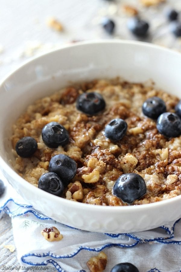 Blueberry Muffin Oatmeal by Belle of the Kitchen